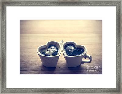 Black Coffee, Espresso In Two Heart Shaped Cups.. Love, Valentine's Day, Vintage Framed Print