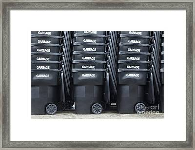 Black Garbage Bins Framed Print by Don Mason