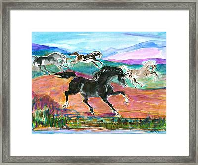 Black Pony Framed Print by Mary Armstrong