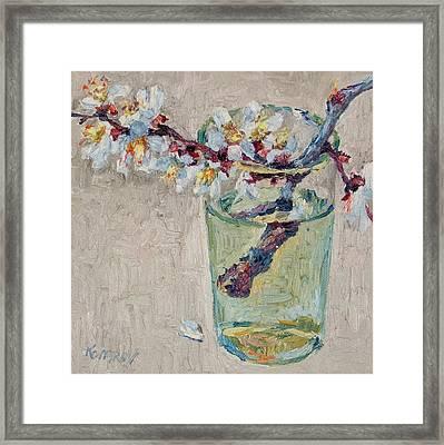 Blossoming Branch In A Glass Framed Print by Vitali Komarov