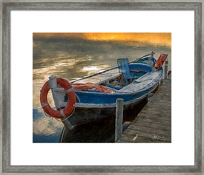 Framed Print featuring the photograph Blue Boat by Juan Carlos Ferro Duque