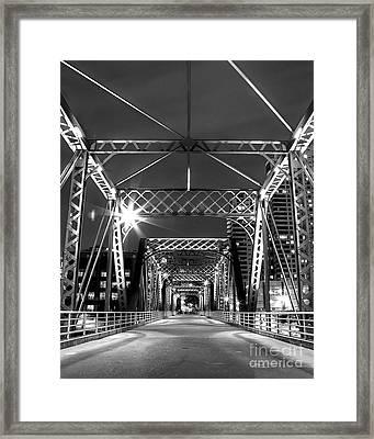 Blue Bridge In Black And White Framed Print