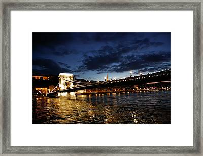 Blue Danube Sunset Budapest Framed Print