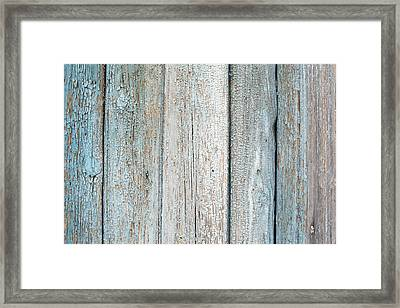 Framed Print featuring the photograph Blue Fading Paint On Wood by John Williams