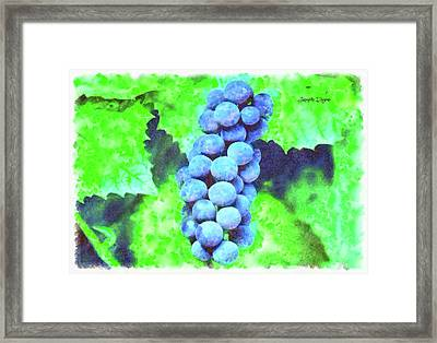 Blue Grapes - Watercolor Over Paper Framed Print by Leonardo Digenio