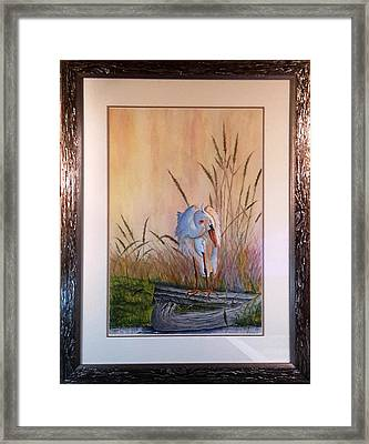 Blue Heron On A Log  Framed Print