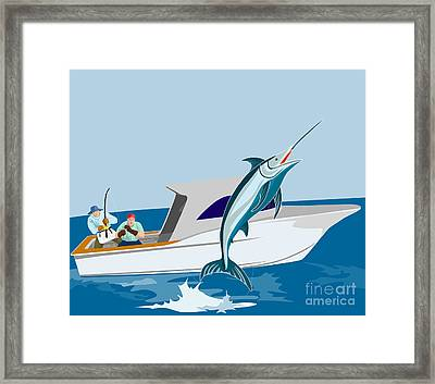 Blue Marlin Jumping Framed Print by Aloysius Patrimonio