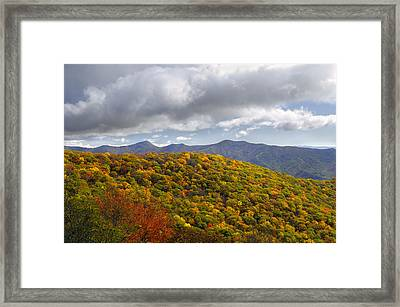 Blue Ridge Mountains In Autumn Color Framed Print by Darrell Young