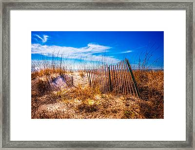 Blue Sky Over The Dunes Framed Print by Debra and Dave Vanderlaan