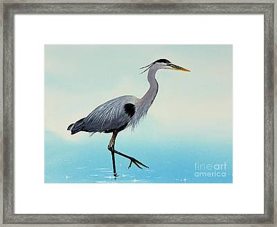 Framed Print featuring the painting Blue Water Heron by James Williamson