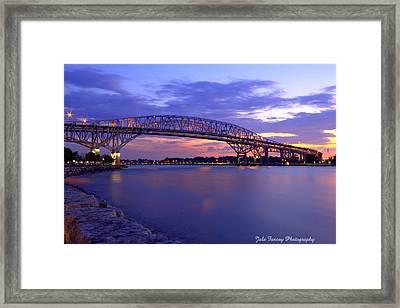 Bluewater Bridge At Sunset Framed Print