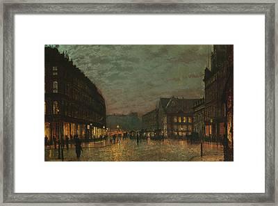 Boar Lane Leeds By Lamplight Framed Print by John Atkinson Grimshaw