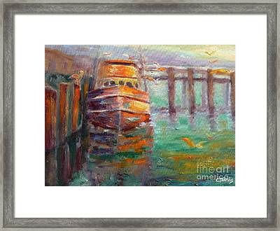 Boat With Seagulls Framed Print