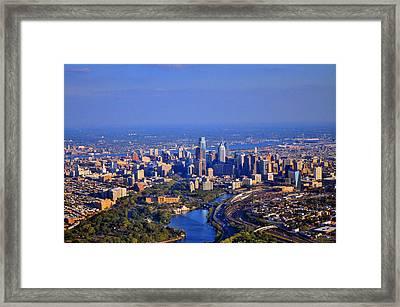 1 Boathouse Row Philadelphia Pa Skyline Aerial Photograph Framed Print by Duncan Pearson
