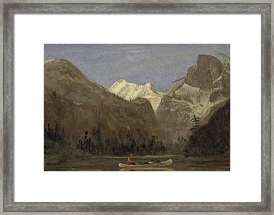 Boating Through Yosemite Valley With Half Dome In The Distance Framed Print by Celestial Images