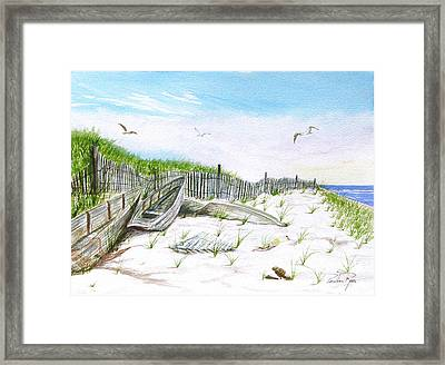 Boats In The Sand Framed Print by Pauline Ross