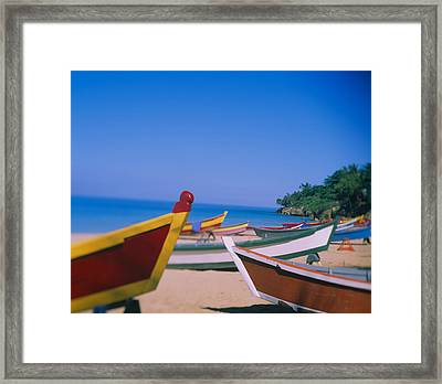 Boats On The Beach, Aguadilla, Puerto Framed Print by Panoramic Images
