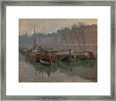 Boats On The Seine Framed Print