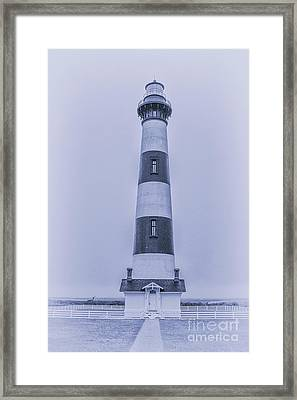Bodie Island Lighthouse In Blue Framed Print by Randy Steele