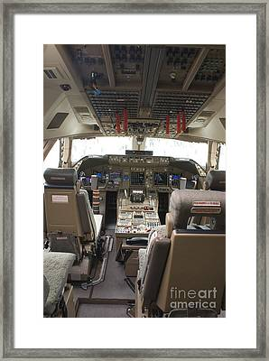 Boeing 747-8 Flight Deck Framed Print by Mark Williamson