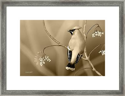 Framed Print featuring the digital art Bohemian Waxwing In Sepia by John Wills