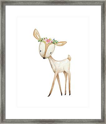 Boho Woodland Baby Nursery Deer Floral Watercolor Framed Print