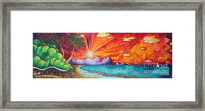 Bold Colorful Tropical Sunset Art Original Beach Painting By Megan Duncanson Framed Print