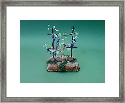 Bonsai Wire Tree Sculpture Beaded Vineyard      Framed Print by Bujas Sinisa