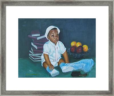 Books And Fruit Framed Print by Howard Stroman
