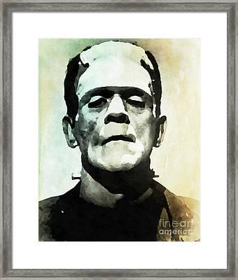 Boris Karloff As Frankenstein Framed Print by John Springfield