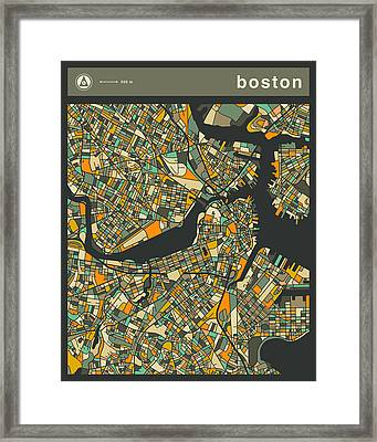 Boston City Map Framed Print