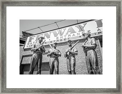 Boston Fenway Park Sign And Four Bronze Statues Framed Print