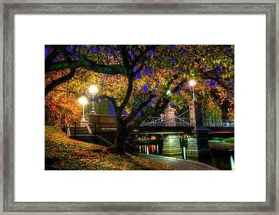Boston Public Garden Lagoon Bridge In Autumn Framed Print