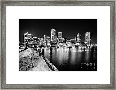 Boston Skyline At Night Black And White Photo Framed Print