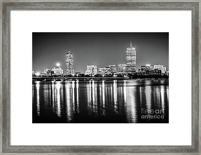 Boston Skyline At Night Black And White Picture Framed Print