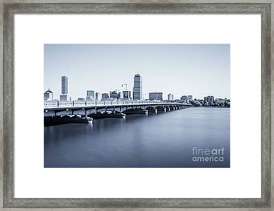 Boston Skyline Harvard Bridge Back Bay Photo Framed Print