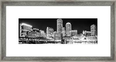 Boston Skyline Panorama Black And White Photo Framed Print by Paul Velgos
