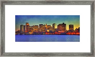 Boston Skyline Sunset Framed Print by Joann Vitali