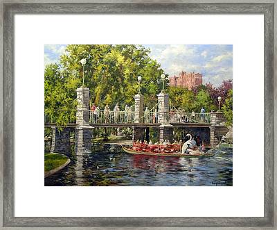 Boston Swan Boat Framed Print by Gary Shepard