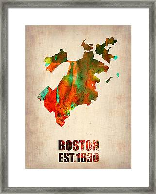 Boston Watercolor Map  Framed Print by Naxart Studio