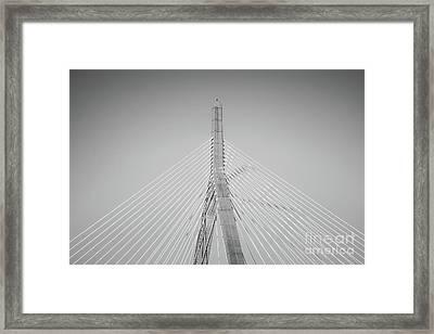 Boston Zakim Bridge Black And White Photo Framed Print