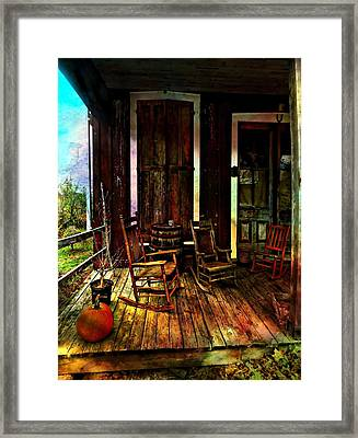 The Country Store Porch Framed Print by Julie Dant