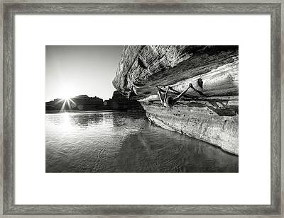 Bouldering Above River Framed Print