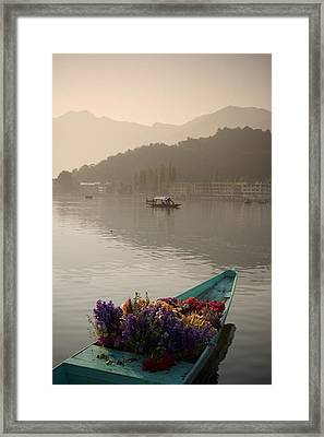 Bouquet Of Flowers In Bow Of Boat Dal Framed Print by David DuChemin