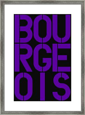 Bourgeois Framed Print by Three Dots