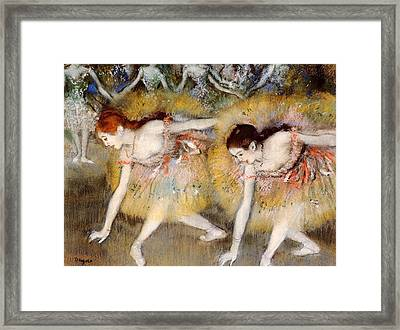 Bowing Dancers Framed Print by Edgar Degas