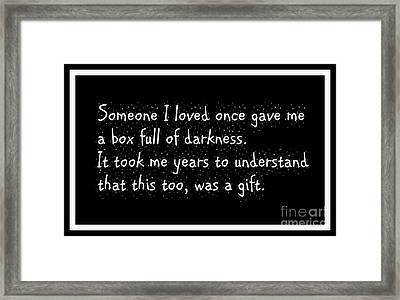 Box Full Of Darkness Framed Print by Justin Moore