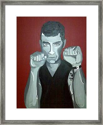 Boxer Sees Red Framed Print by Misty VanPool