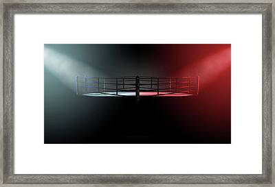 Boxing Ring Opposing Corners Framed Print by Allan Swart