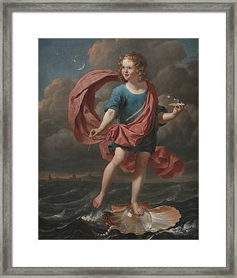Boy Blowing Soap Bubbles. Allegory On The Transitoriness And The Brevity Of Life Framed Print by Karel Dujardin
